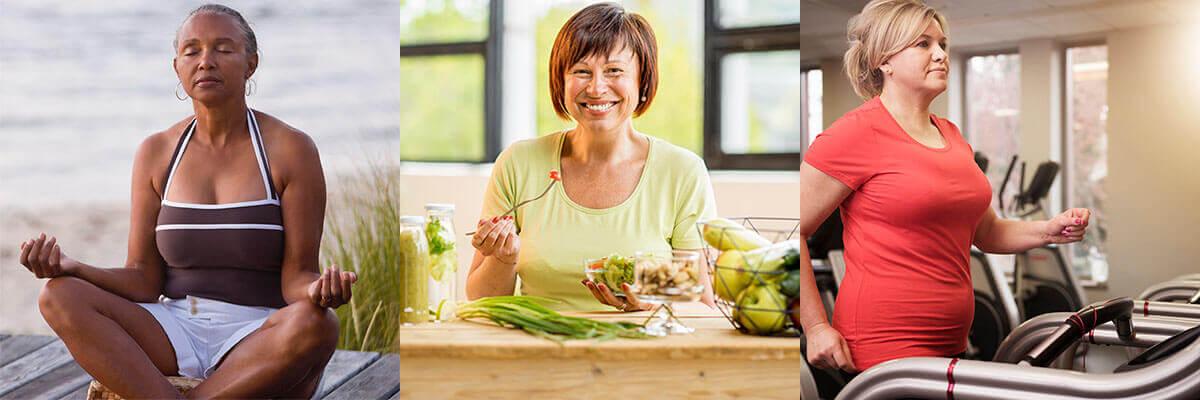 Collage de mujeres meditando, comiendo saludable y ejercitándose.