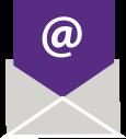 símbolo @ en un sobre púrpura